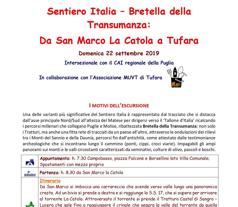 Cai Campobasso e regionale Puglia sulla Bretella della Transumanza del Sentiero Italia