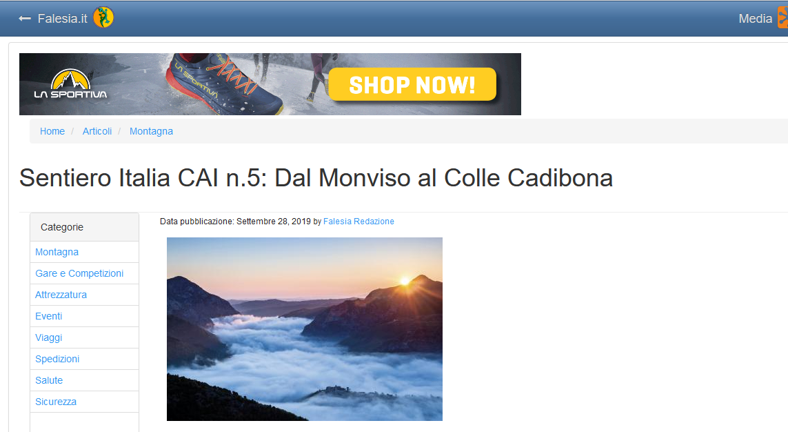Falesia.it: Sentiero Italia CAI n.5: Dal Monviso al Colle Cadibona